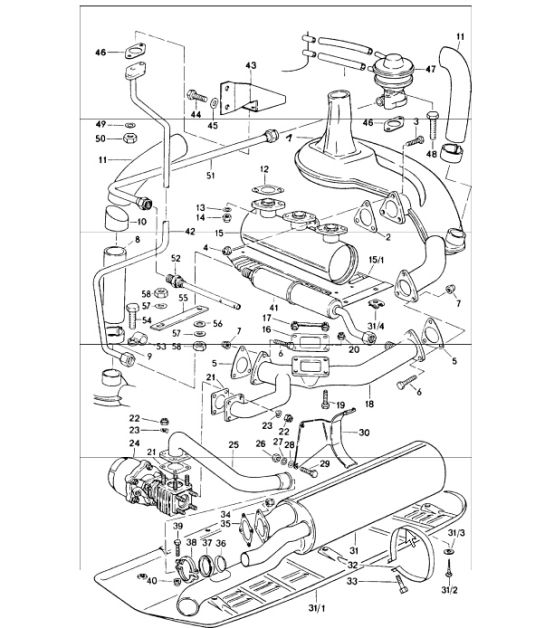 Exhaust System 911 Turbo 197577 J Usa: 1976 Porsche 912e Engine Diagram At Hrqsolutions.co