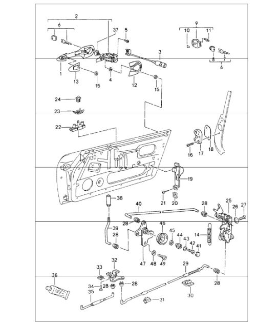 porsche 944 door handle diagram  porsche  auto parts