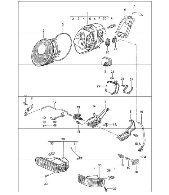 porsche 986 headlight wiring diagram  porsche  wiring